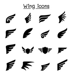wing icon set graphic design vector image
