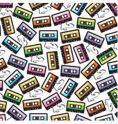 background pattern with audio cassette tape vector image