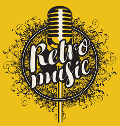 banner with microphone and inscription retro music vector image vector image