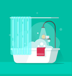 Bathroom flat cartoon bath vector