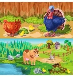 Farm Animals Banners Set vector image