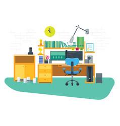 flat freelancer workspace vector image vector image