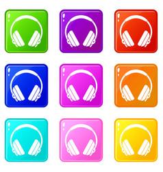 headphone icons 9 set vector image