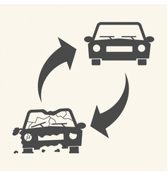 Old damaged and new cars car recycling concept vector