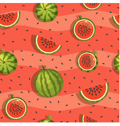 pattern of watermelon and slices seamless vector image