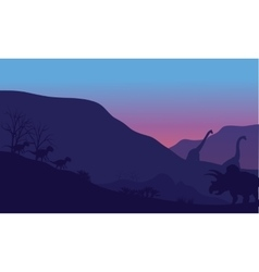 Silhouette of dinosaur in park vector image