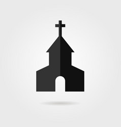 simple black church icon with shadow vector image vector image