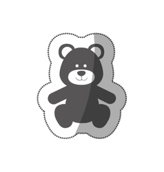Sticker grayscale silhouette with teddy bear vector