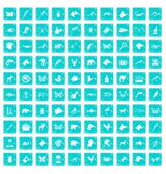 100 animals icons set grunge blue vector image