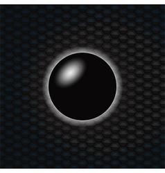3d black sphere over dark honeycomb background vector