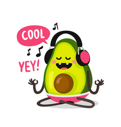 Avocado listening to music with headphones vector