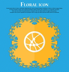 Basketball icon sign Floral flat design on a blue vector image