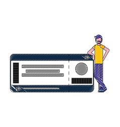 beard man with air ticket pass travel vector image