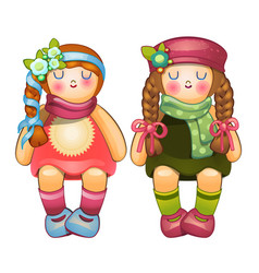 Beautiful stuffed dolls girls with long braids vector