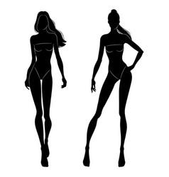 Black silhouettes fashion models walking vector