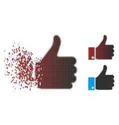 Broken pixel halftone thumb up icon vector