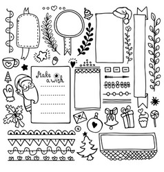 Bullet journal and christmas hand drawn element vector