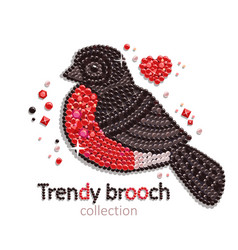 Bullfinch brooch icon vector