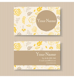 Business card with yellow floral background vector