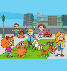 Cartoon kids with dogs in city park vector