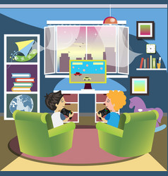 Children play the console in room vector