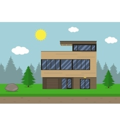 Cottage house building Flat design style Modern vector image