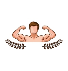 Crown leaves with half body muscle man vector