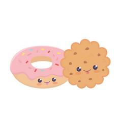 Cute cookie and donut kawaii cartoon character vector