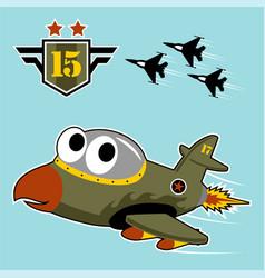 Cute warplane cartoon with military logo vector