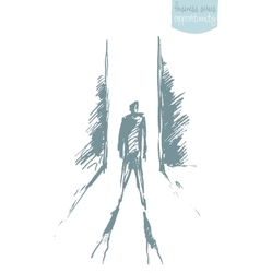 Drawn man standing front open door concept vector