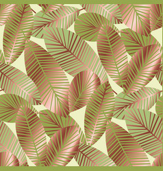 elegant gold exotic leaves seamless pattern vector image