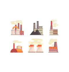 factory buildings set industrial plants with vector image