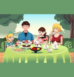 family having a tea party together vector image