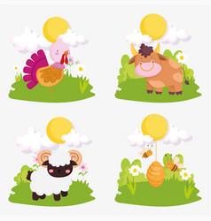 Farm animals cute turkey cow goat bees sky sun vector