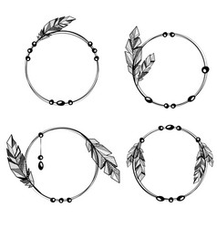 Feathers boho style circle frames vector