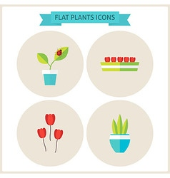 Flat Plants Website Icons Set vector image