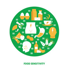 Food sensitivity round concept banner template in vector
