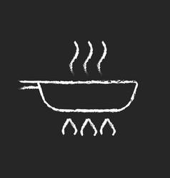 Fry pan chalk white icon on dark background vector