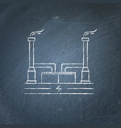 Geothermal power plant chalkboard sketch vector