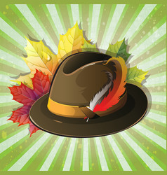 German hat with maple leaves vector