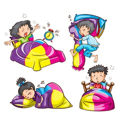 Girls and boys with colourful blankets and pillows vector image