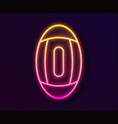 Glowing neon line american football ball icon vector