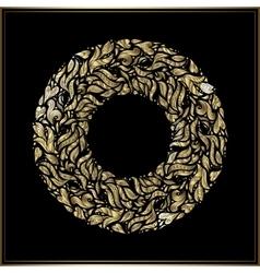 Gold round frame on black background vector image