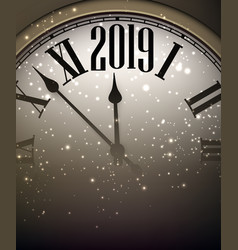gold shiny 2019 new year background with clock vector image
