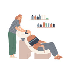 Hairdresser washes her client s hair in vector
