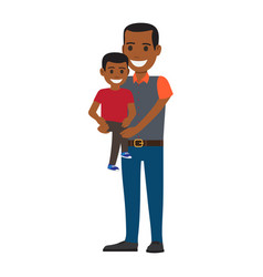 Happy black man holding his little son to hands vector