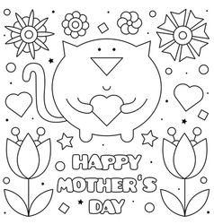 happy mothers day coloring page vector image