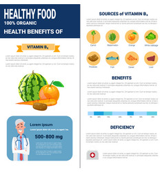 Healthy food infographics products with vitamins vector