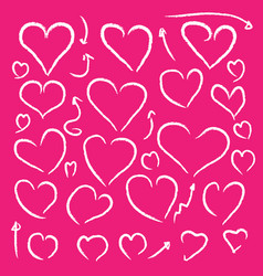 Heart shaped white chalk lines on pink background vector