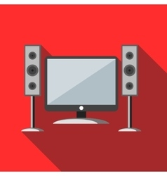 Home cinema with sound speakers icon vector